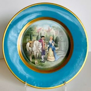 Colonial Bavarian Plate Courting Couple Horse